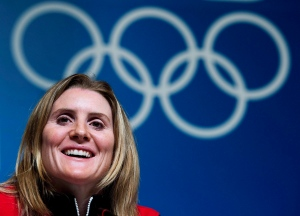Hayley Wickenheiser smiles during a press conference before the 2014 Sochi Winter Olympics in Sochi, Russia on Wednesday, February 5, 2014. (Nathan Denette/THE CANADIAN PRESS)