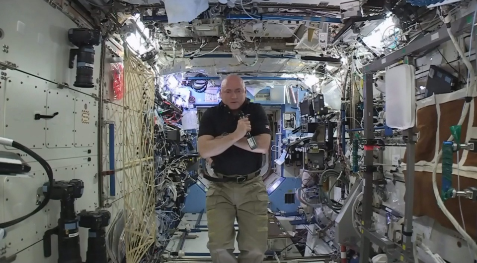Astronaut Scott Kelly speaks to reporters on Earth during a news conference held on the International Space Station on Thursday, Feb. 25, 2016. (NASA)