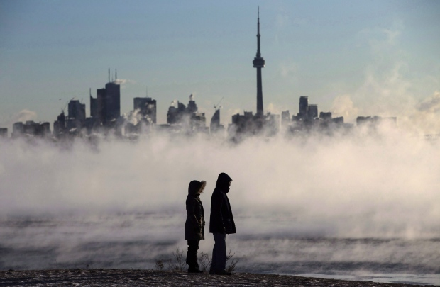 Steam rises off Lake Ontario