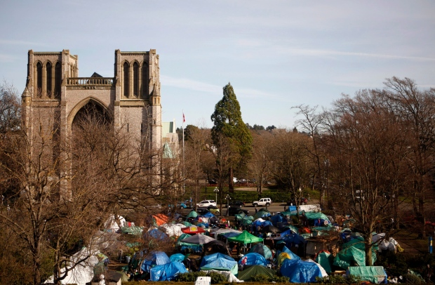 Critics say Victoria's tent city, which took over the lawn at the courthouse from fall 2016 to summer 2016, is too fresh in many resident's mind for a homeless billeting program to work. (Chad Hipolito / The Canadian Press)