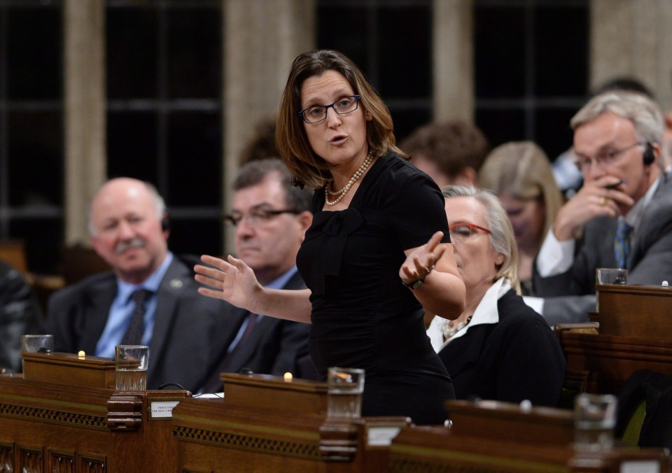 Minister of International Trade Chrystia Freeland responds to a question during question period in the House of Commons on Parliament Hill in Ottawa on Wednesday, Feb. 17, 2016. (Sean Kilpatrick / THE CANADIAN PRESS)