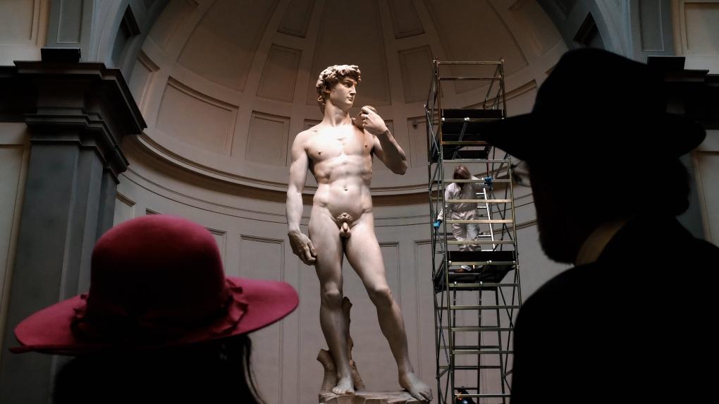 Italian restorer cleans Michelangelo's David
