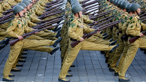 North Korean soldiers march in Pyongyang
