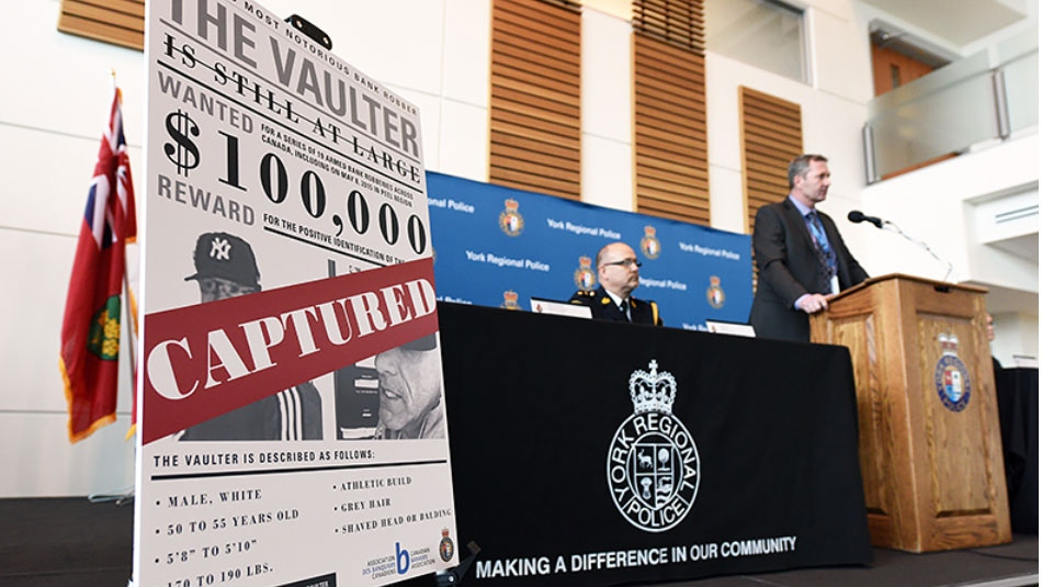 York Regional Police speak at a press conference detailing Shuman's arrest and extradition, as well as the charges he faces, on March 1, 2016. (York Regional Police)