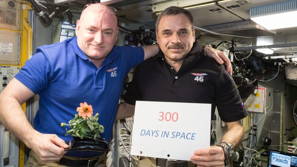 Scott Kelly of NASA, left, and Mikhail Kornienko of Roscosmos aboard ISS on Jan. 21, 2016.  (NASA via AP)