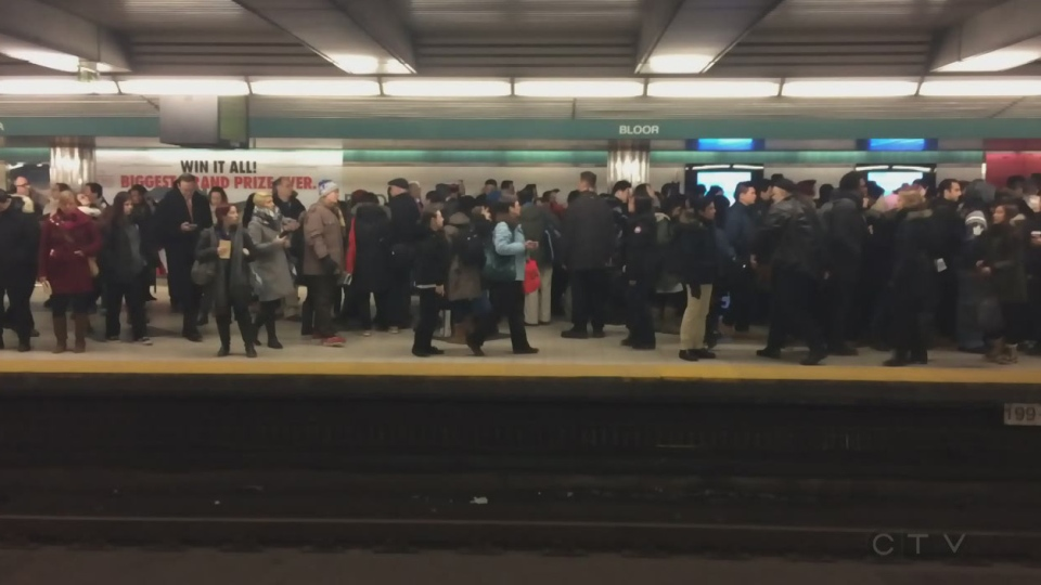 Crowded platform at the TTC's Yonge-Bloor station