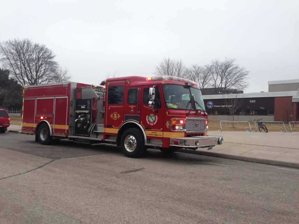 Fire crews were called to Preston High School in Cambridge on Tuesday, March 1, 2016. (Dan Lauckner / CTV Kitchener)