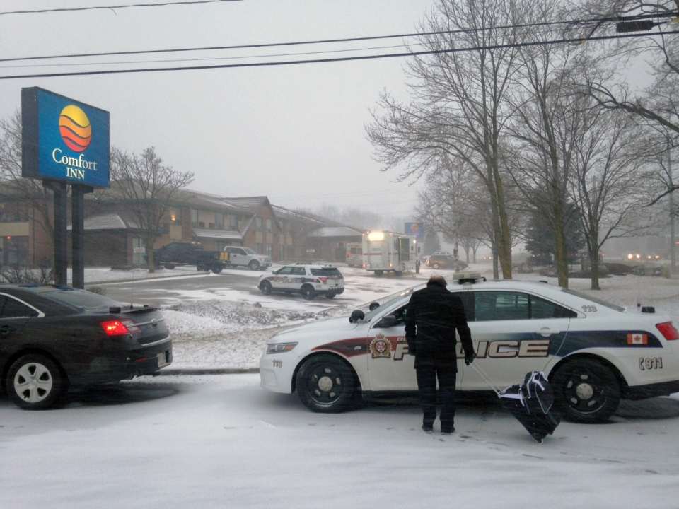 Police investigate after a shooting at a hotel on Woodlawn Road in Guelph on Tuesday, March 1, 2016. (Marc Venema / CTV Kitchener)