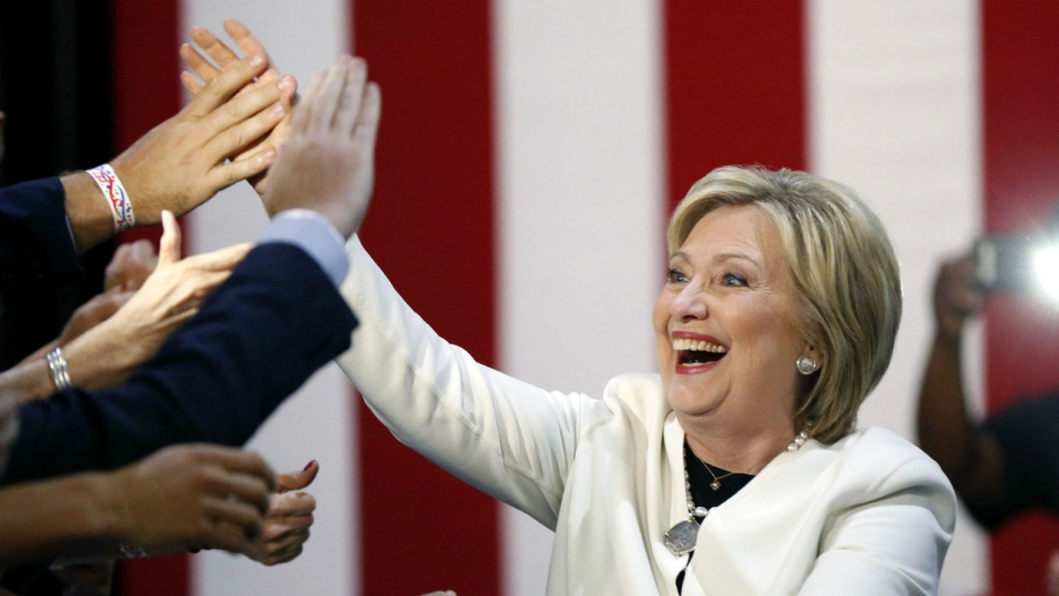 Democratic presidential candidate Hillary Clinton reacts to supporters as she arrives to address supporters at her Super Tuesday election night rally in Miami on Tuesday, March 1, 2016. (AP / Gerald Herbert)
