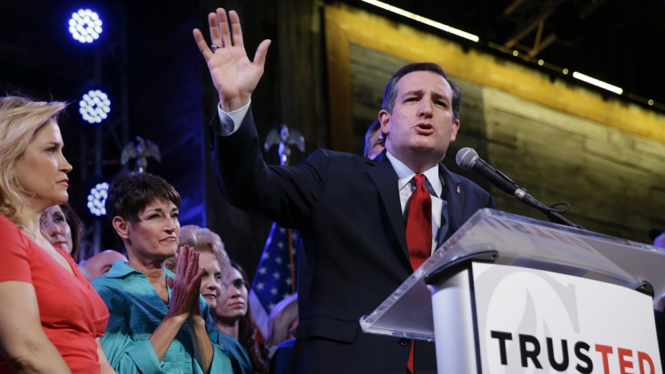 Republican presidential candidate, Sen. Ted Cruz, R-Texas, waves as he speaks during an election night watch party in Stafford, Texas on Tuesday, March 1, 2016. (AP / David J. Phillip)
