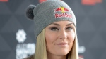 In this Feb. 23, 2016, file photo, U.S. alpine skier Lindsey Vonn speaks during a news conference at a hotel in Stockholm. (Maja Suslin/TT via AP)
