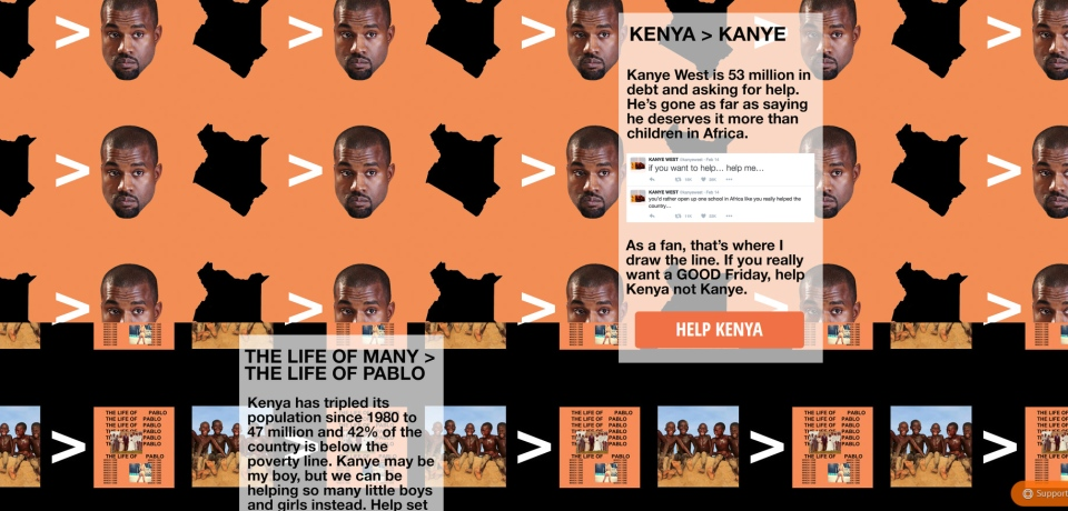 A screenshot of the 'Help Kenya, Not Kanye' fundraising website.