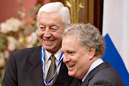 Jean Beliveau with Quebec Premier Jean Charest