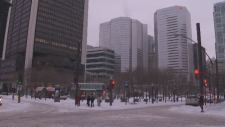 Downtown Montreal after a snowfall March 2, 2016.
