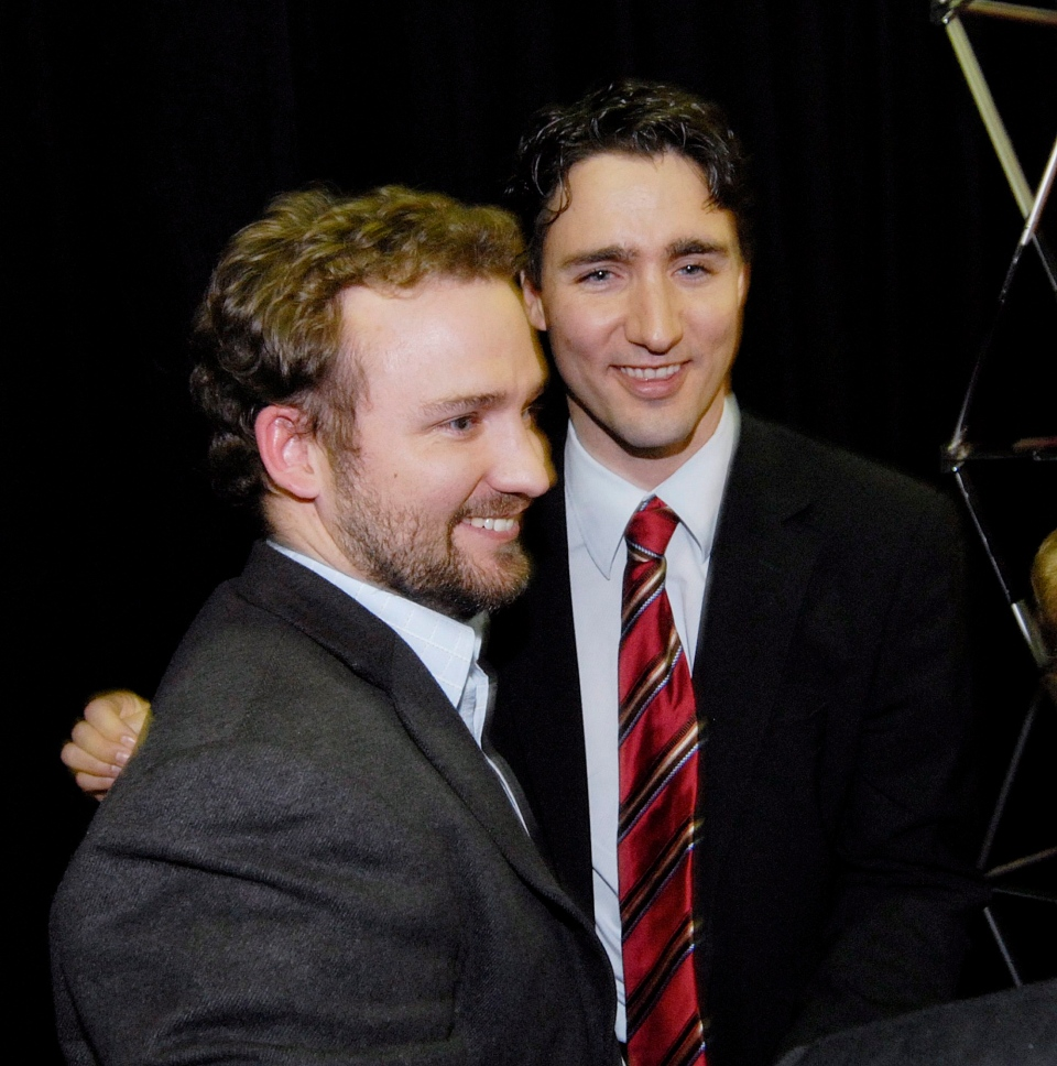 In this file photo Justin Trudeau (right) is shown with his brother Alexandre (Sacha) Trudeau after winning the nomination in the riding of Papineau in Montreal north, Sunday April 29, 2007. (Peter McCabe / THE CANADIAN PRESS)