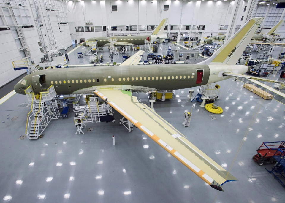 Bombardier's CS100 assembly line is seen at the company's plant Friday, December 18, 2015 in Mirabel, Que. (Ryan Remiorz/THE CANADIAN PRESS)