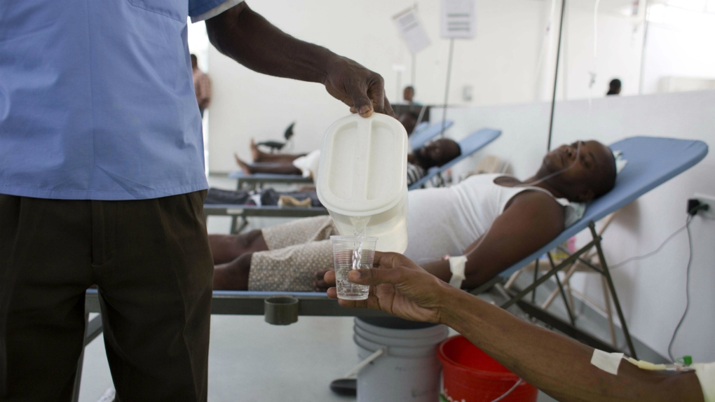 Patients being treated for cholera in Haiti