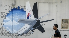 Mural depicting MH370 in Malaysia