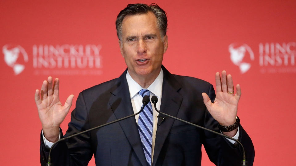 2012 Republican presidential candidate Mitt Romney weighs in on the Republican presidential race during a speech at the The University of Utah, Thursday, March 3, 2016, Salt Lake City.  (AP Photo/Rick Bowmer)