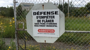 """A """"No Trespassing"""" sign is shown at an abandoned asbestos mine in Thetford Mines, Que. in an August 7, 2015 photo. (THE CANADIAN PRESS/Lia Levesque)"""