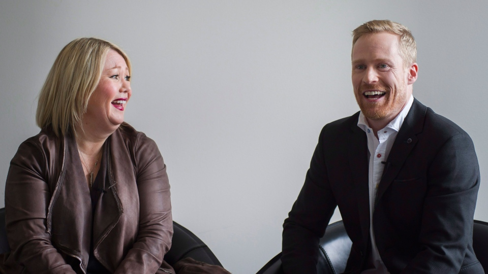Jann Arden and Jon Montgomery sit for an interview in Toronto on Thursday, March 3, 2016.  (Christopher Katsarov / THE CANADIAN PRESS)