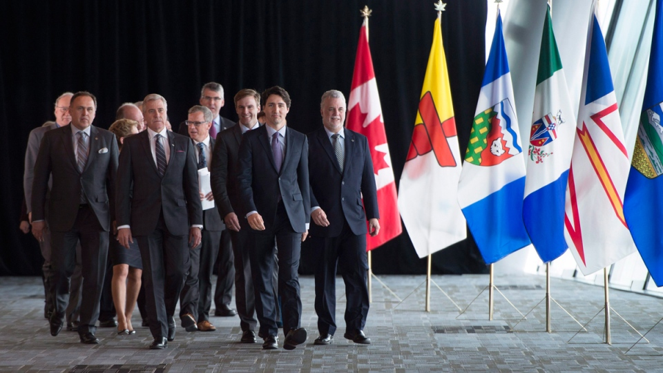 Prime Minister Justin Trudeau leads Canada's premiers in Vancouver, B.C., on March. 3, 2016. (Jonathan Hayward / THE CANADIAN PRESS)