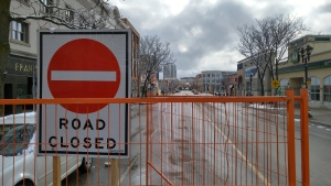 A 'road closed' sign blocks vehicles from using King Street in uptown Waterloo on Tuesday, Feb. 9, 2016. (Dan Lauckner / CTV Kitchener)