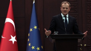 European Council President Donald Tusk speaks to the media during a joint press conference with Turkish Prime Minister Ahmet Davutoglu in Ankara, Turkey, Thursday, March 3, 2016. (AP / Burhan Ozbilici)