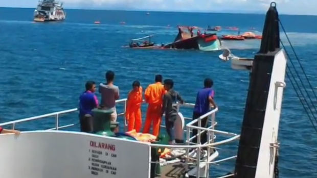 A ferry capsized in Indonesian