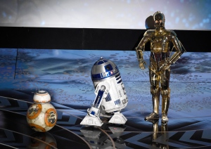 Droid characters from 'Star Wars' BB-8, from left, R2-D2, and C-3PO speak at the Oscars on Sunday, Feb. 28, 2016, at the Dolby Theatre in Los Angeles. (Photo by Chris Pizzello/Invision/AP)