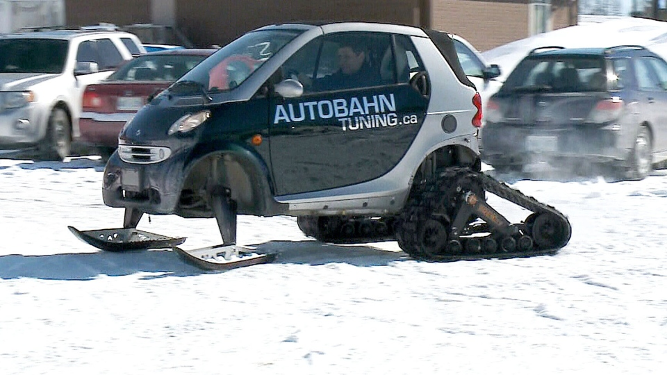 Ottawa mechanic Tod Anderson modified a 2006 Smart car to have ATV tracks and snowmobile-style skis.
