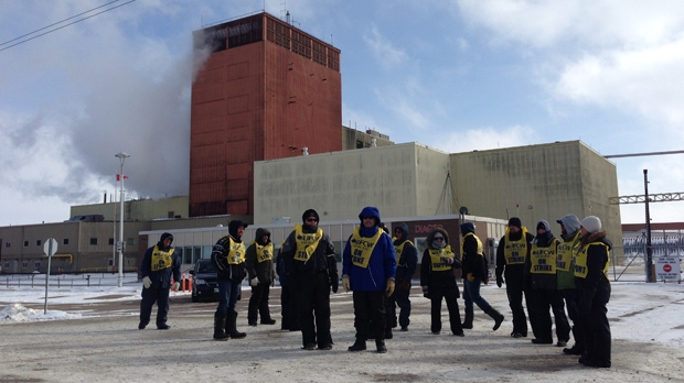 Workers at the Crown Royal plant in Gimli walk the picket line on Saturday, March 5, 2016 after voting to reject the company's final offer.