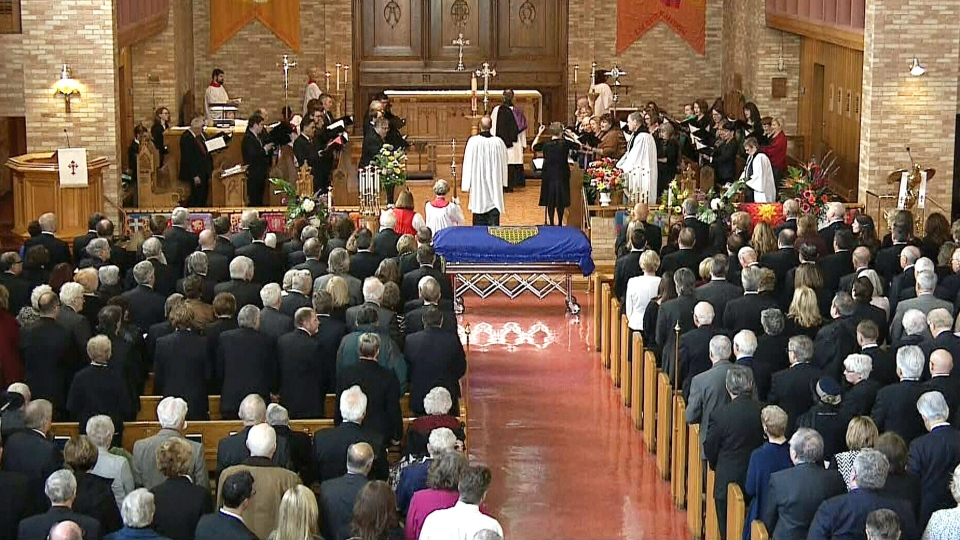 Mourners gather during a state funeral held for former Alberta premier Don Getty at the All Saints Anglican Cathedral. (CTV)