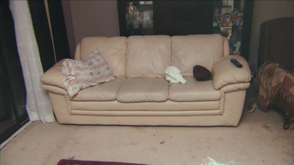 Cindy Ali told court she saw one of the home invaders standing near the couch with the pillow on the left in his hands. The Crown argued that Ali used that pillow to smother her daughter after staging a home invasion. (Court exhibit)