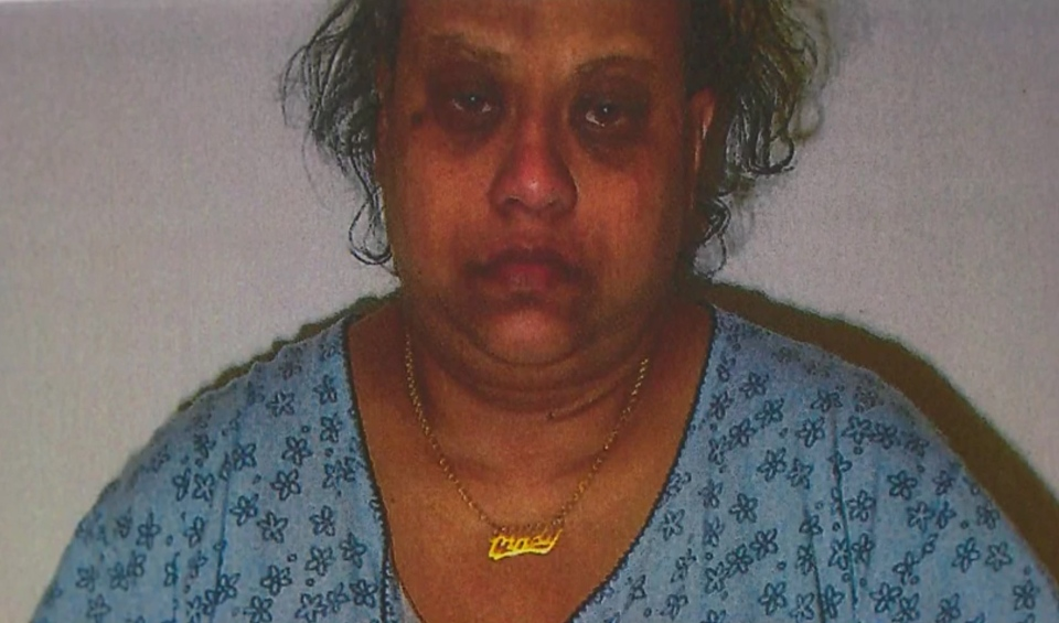 Cindy Ali on Feb. 19, 2011. She was photographed at 42 Division hours after the alleged home invasion while her daughter was on life support at The Hospital for Sick Children. (Court exhibit)