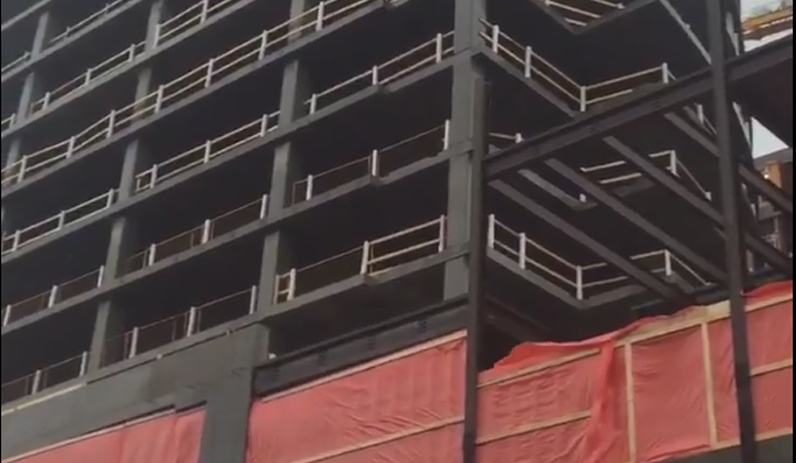 A screengrab of a video showing an under-construction building in downtown Halifax. (Twitter / @appleheadstudio)