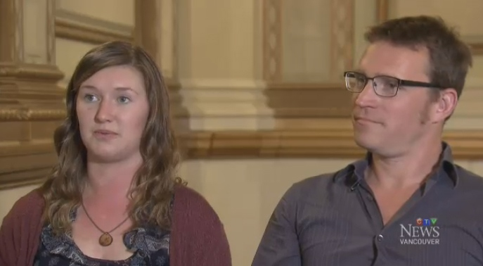 Trinity Jezierski, left, and Etienne Herold were honoured for helping to save lives after a whale-watching boat capsized off Tofino, B.C. last October.