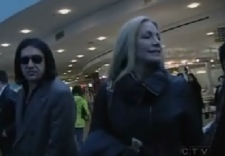 Gene Simmons and his family arrive at Vancouver International Airport, Monday.