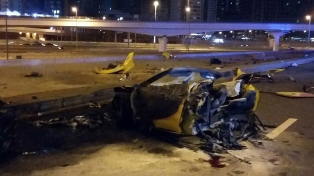 A damaged vehicle is shown in an image provided by Dubai police.