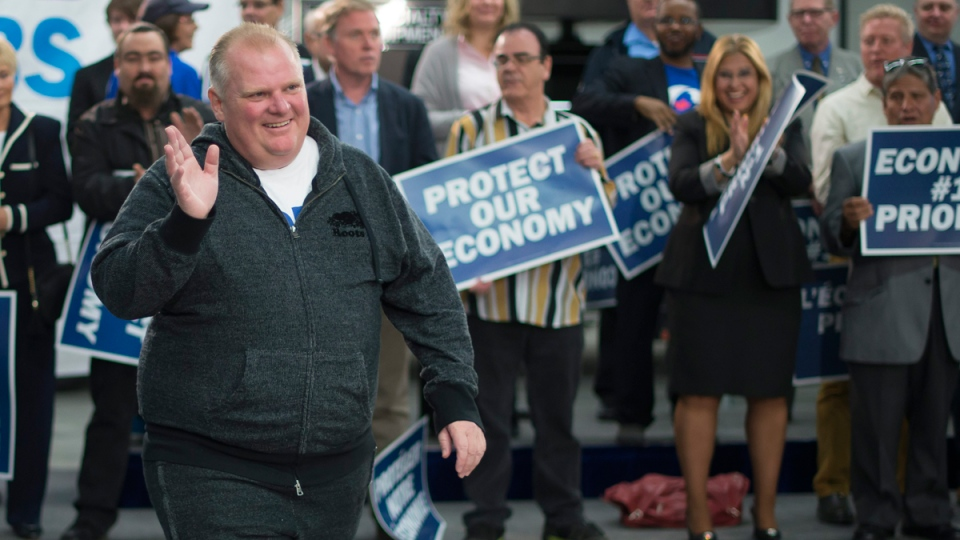 Rob Ford arrives at a Conservative campaign event in Etobicoke, Ont., on Oct. 13, 2015. (Jonathan Hayward / THE CANADIAN PRESS)