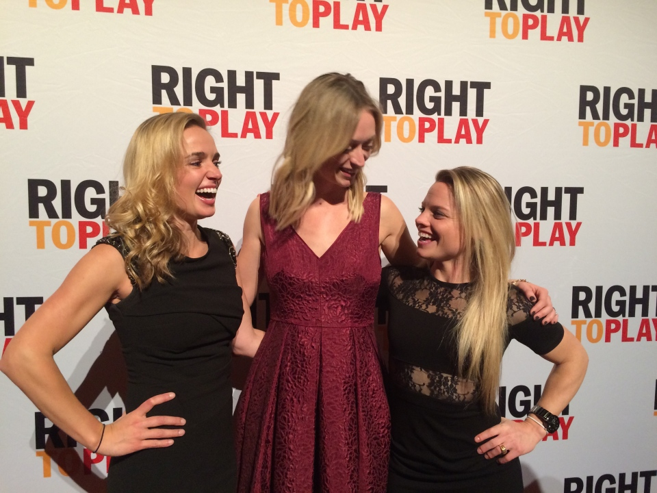 From left: Dani Rylan, Jenny Scrivens and Erika Lawler at the 2015 Right To Play's 'Big Red Ball' event in November, 2015. (Photo: NWHL)