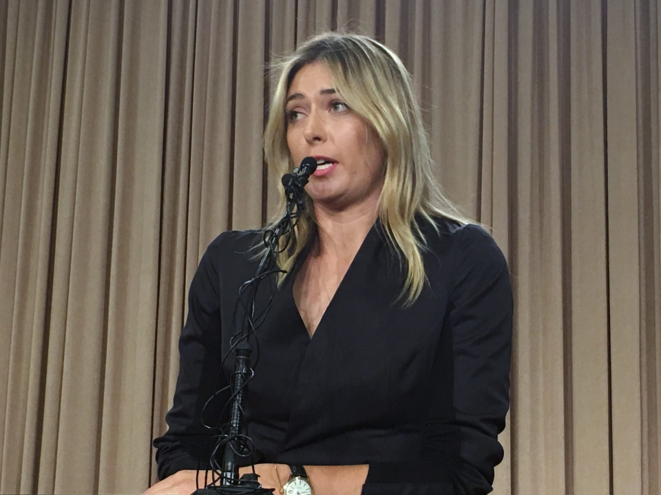 Five-time Grand Slam tennis champion Maria Sharapova speaks at a news conference in Los Angeles on March 7, 2016. (Damian Dovarganes / AP Photo)