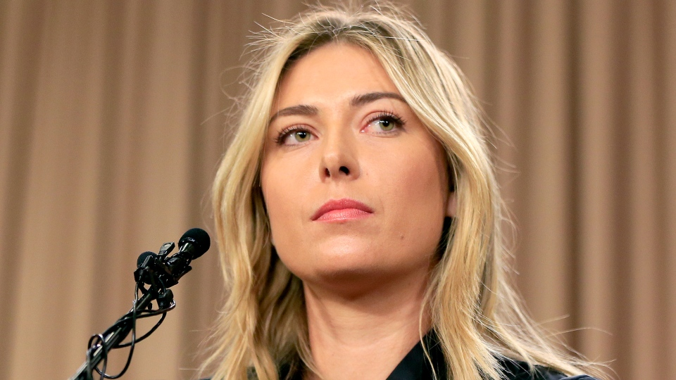 Tennis star Maria Sharapova speaks during a news conference in Los Angeles on Monday, March 7, 2016. (AP / Damian Dovarganes)