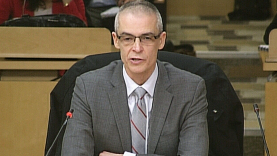Canadian Security Intelligence Service Director Michel Coulombe speaks at a Senate national security committee, in Ottawa, Monday, March 7, 2016.