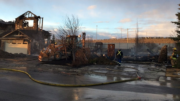 Fire crews say that four homes were destroyed by a huge blaze early Tuesday morning.