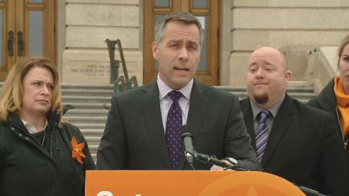 Saskatchewan NDP Leader Cam Broten speaks at a campaign event outside the Saskatchewan Legislative Building on Tuesday, March 8, 2016.