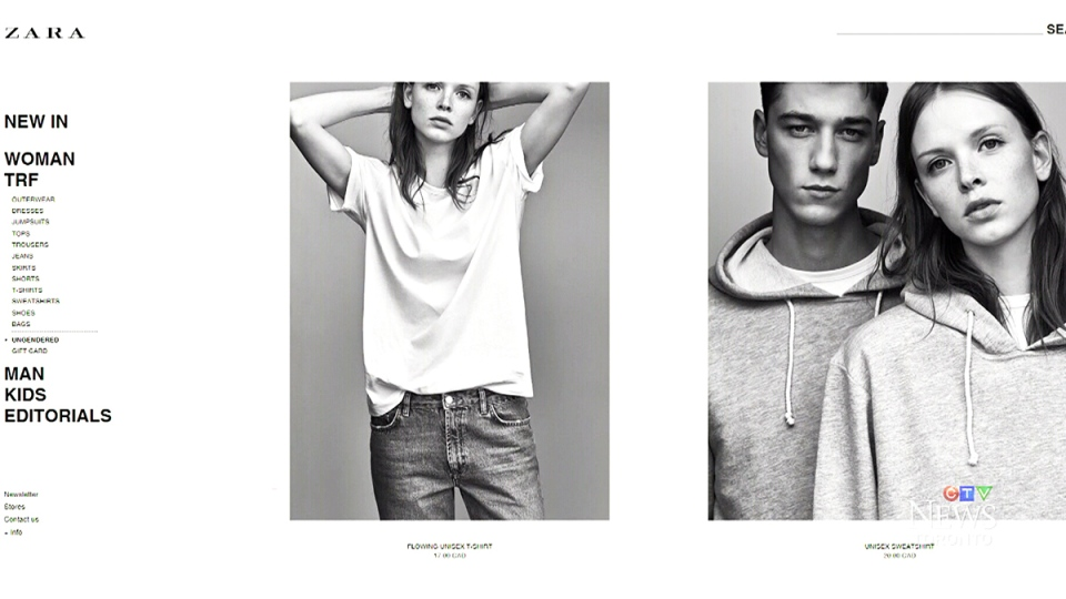 "Ads for Zara's ""Ungendered"" line are seen in this image from the company's website."