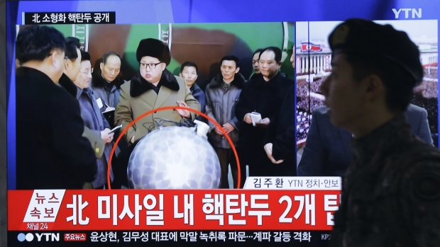 Kim Jong Un poses beside purported warhead