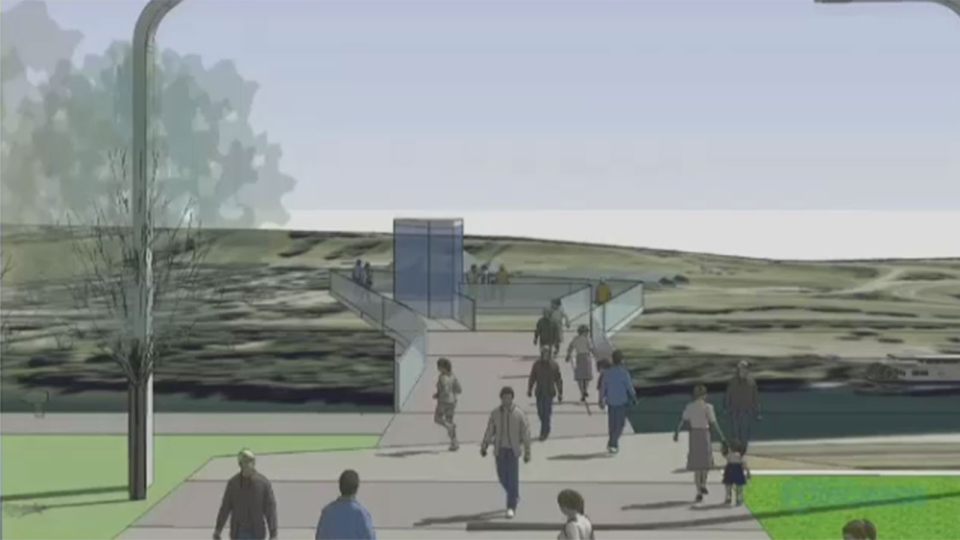 This proposed 'urban balcony' would overlook Edmonton's river valley.