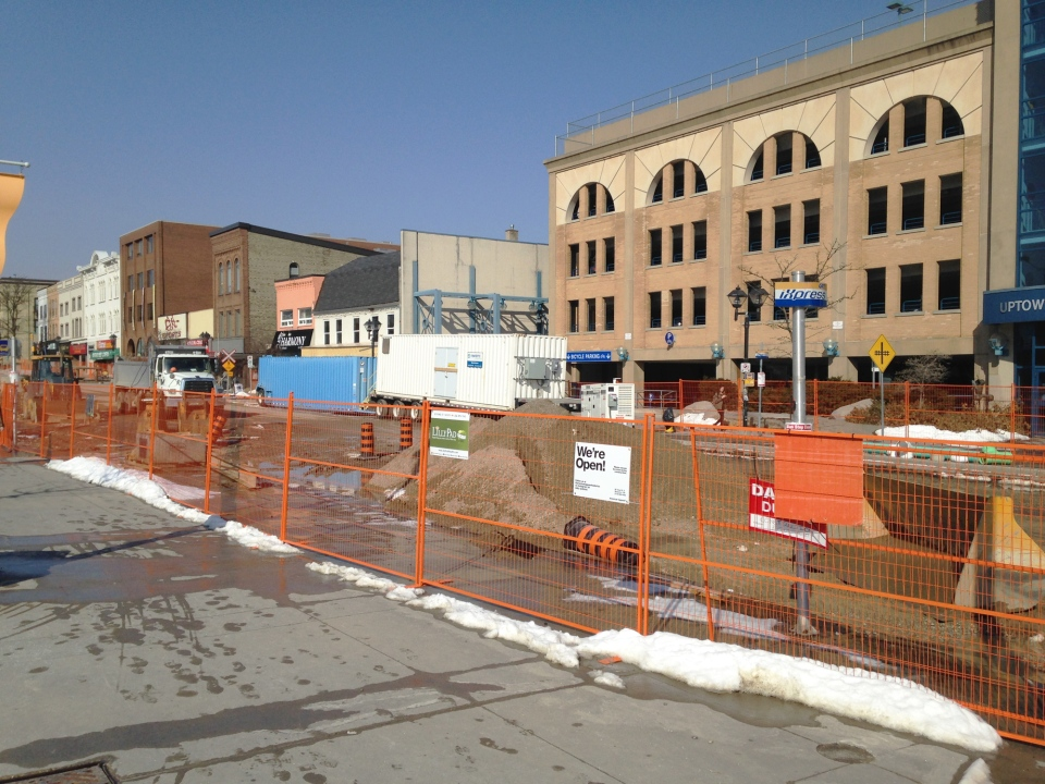 Construction activity is pictured along King Street in uptown Waterloo on Monday, March 7, 2016. (Dan Lauckner / CTV Kitchener)